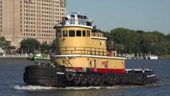 Georgia tug boat, savannah river, ga, usa Stock Footage