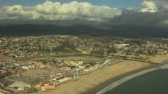 Stock Video Footage of Aerial Pier Santa Cruz Promenade Pier structure boardwalk