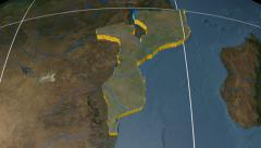 Mozambique extruded. Blue Marble. Graticule. Stock Footage