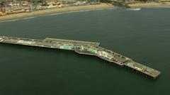 Aerial Pier Santa Cruz Promenade Pier structure boardwalk Stock Footage