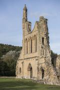 byland abbey ruins, north yorkshire, england - stock photo