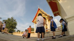 Children have fun to play on evening before go home Stock Footage