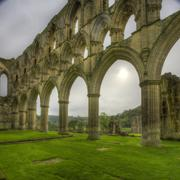 rievaulx abbey archway ruins - stock photo