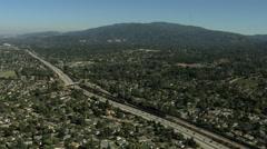 Stock Video Footage of Aerial USA California Santa Cruz commuter Freeway transport