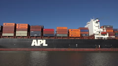 apl belgium container ship steams up the savannah river, ga, usa - stock footage