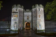 Bishop's palace gatehouse at night Stock Photos