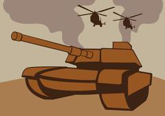 Wartime Military tank and helicopters Stock Illustration