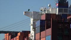 Apl belgium container ship and talmadge bridge, savannah river, ga, usa Stock Footage