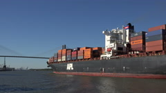 apl belgium container ship and talmadge bridge, savannah river, ga, usa - stock footage