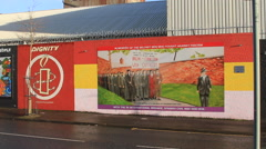 Irish Republican Amnesty and anti-capitalist mural Stock Footage