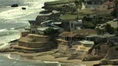 Stock Video Footage of Aerials USA California Coastline Santa Cruz structure commuter