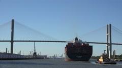 container ship passes under talmadge bridge, savannah river, ga, usa - stock footage