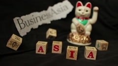 """LUCKY ASIAN CAT - Slow motion dolly """"Business"""" in Asia Stock Footage"""