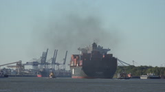 Container ship arrives at port of savannah, ga, usa Stock Footage
