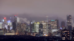 Toronto downtown landmarks under passing winter storm Time Lapse Stock Footage