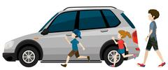 Kids running near the parked vehicle Stock Illustration