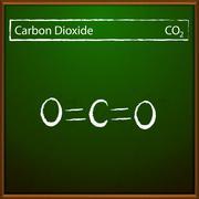 Carbon dioxide molecules - stock illustration