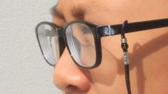 Boy wears glasses myopia, Asia Stock Footage