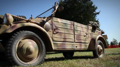 German VW Kübelwagen 2 | Safari Camo | World War 2 Stock Footage