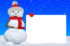 Stock Illustration of snowman shows blank white board under snowfall