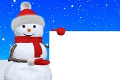 snowman shows blank white board under snowfall - stock illustration