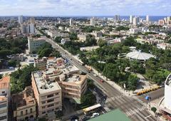 Architecture in Vedado district. View from the top. Stock Photos