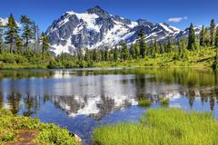 Stock Photo of picture lake evergreens mount shuksan washington usa