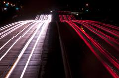 Long exposure of freeway traffic at night Stock Photos