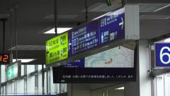 Japanese Sign In Kyoto Train Station 4K Stock Footage