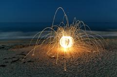 Stock Photo of steel wool sparks on the beach