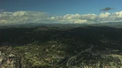 Aerial USA California Santa Cruz commuter Freeway transport - stock footage
