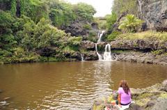 Seven sacred pools in hana, maui, hawaii. beautiful photo of several waterfal Stock Photos