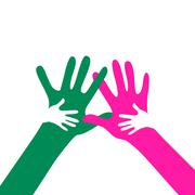 children and adults hands together - stock illustration