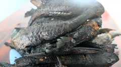 Grilling fish on barbecue Stock Footage