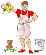 househusband is busy doing housework - stock illustration