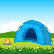 blue tent on glade - stock illustration