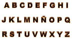 alphabet orange and black - stock illustration