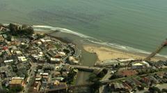 Stock Video Footage of Aerial USA Santa Cruz Waterfront Promenade boardwalk