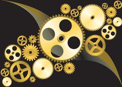 Golden gear wheels background Stock Illustration