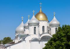 Saint sophia cathedral in kremlin of great novgorod russia Stock Photos
