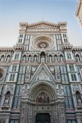 santa maria del fiore, florence cathedral, with the magnificent dome of brune - stock photo