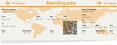 Vector image of airline boarding pass ticket - stock illustration