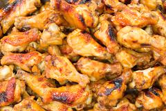 Hot and spicey bbq chicken wings Stock Photos