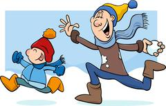 Dad and son on winter cartoon Stock Illustration