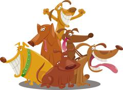 Playful dogs group cartoon illustration Stock Illustration