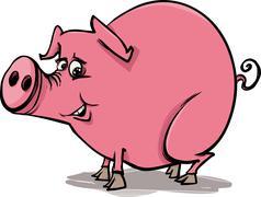 Farm pig cartoon illustration Stock Illustration