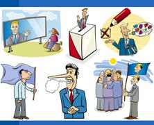 cartoon politics concepts set - stock illustration