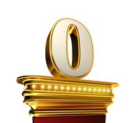 Number zero on a golden platform over white - stock illustration