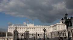 Palacio Real De Madrid, A Major Tourist Landmark In Central Madrid Stock Footage