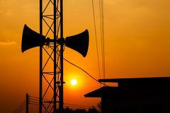 loudspeaker and sunset - stock photo